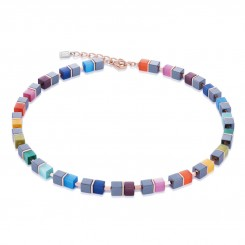 COEUR DE LION Geo Cube Haematite Multi Colour Necklace 4927/10-1520