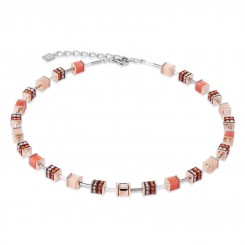 COEUR DE LION Geo Cube Elegant Orange & Rose Gold Necklace 4928/10-0200