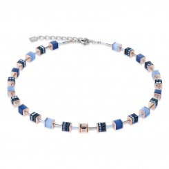 COEUR DE LION Geo Cube Elegant Dusky Blues Necklace 4928/10-0700