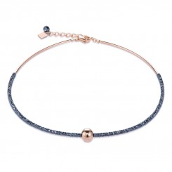 COEUR DE LION Bold Grey Hematite & Rose Gold Necklace 4932/10-1620
