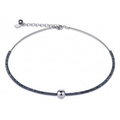 COEUR DE LION Bold Grey Hematite & Silver Necklace 4932/10-1700