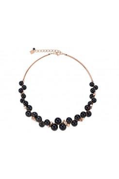 COEUR DE LION Swarovski Glossy Black & Rose Gold Necklace 4937/10-1300
