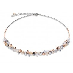 COEUR DE LION Geo Cube Elegant Champagne & Rose Gold Crystal Necklace 4938/10-1631