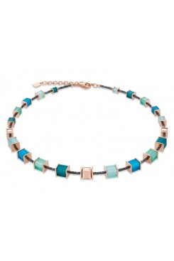 COEUR DE LION Geo Cube Vibrant Turquoise, Muted Green & Rose Gold Necklace 4945/10-0626