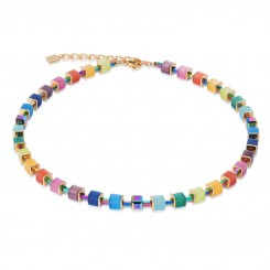 COEUR DE LION Geo Cube Multicolour Hematite Necklace 4947/10-1535
