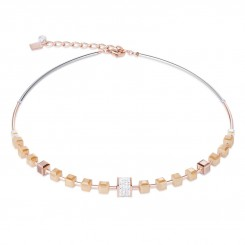 COEUR DE LION Geo Cube Rose Champagne Necklace 4953/10-1000