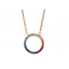COEUR DE LION Swarovski Multi Coloured Circle Pendant Necklace 4957/10-1500