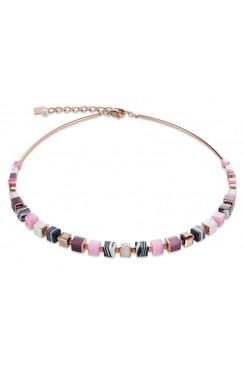 COEUR DE LION Geo Cube Malachite Soft Pink Aubergine Necklace 4963/10-1908