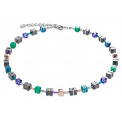 COEUR DE LION Geo Cube Emerald Green Purple Hematite Necklace 4964/10-0508