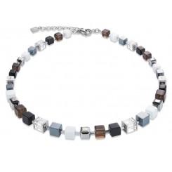 COEUR DE LION Geo Cube Smoky Quartz White & Black Necklace 4984/10-1700