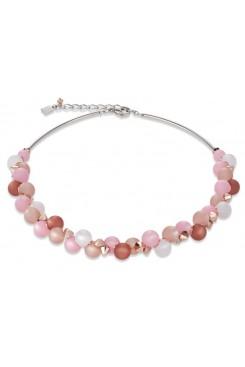 COEUR DE LION Soft Pink Matt Spheres Necklace 4994/10-1910