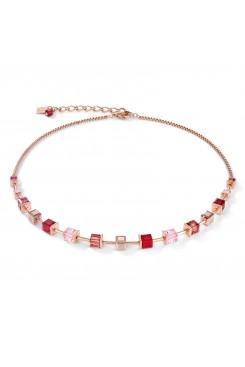 COEUR DE LION Geo Cube Soft Pinks & Red Necklace 4996/10-0300