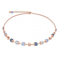COEUR DE LION Geo Cube Soft Dusky Blues Necklace 4996/10-0700