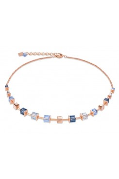 COEUR DE LION Geo Cube Soft Dusky Blues Necklace 4996/10-0700