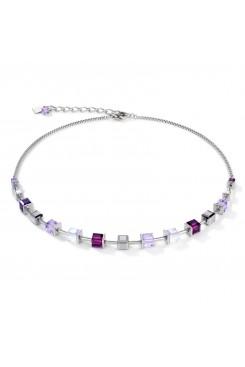 COEUR DE LION Geo Cube Amethyst & White Necklace 4996/10-0824