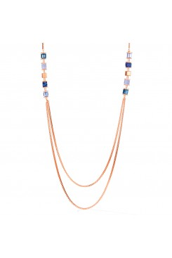 COEUR DE LION Geo Cube Long Style Natural Chalcedony & Sodalite Necklace 5053/10-0700