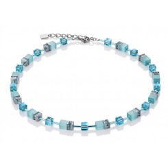 COEUR DE LION Geo Cube Aqua Necklace 4322/10-2000