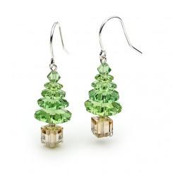 Green Swarovski Crystal Elements Christmas Tree Earrings