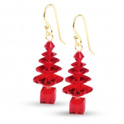 Red Swarovski Crystal Elements Christmas Tree Earrings