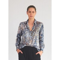 Mela Purdie Soft Shirt - Desert Animal Chiffon Satin Print