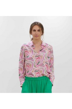 Mela Purdie Soft Shirt - Fizz Print Silk - Sale