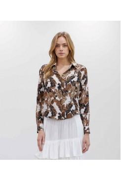 Mela Purdie Soft Shirt - Cabana Print Silk