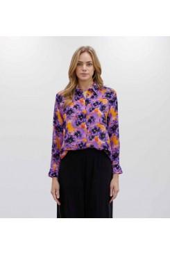 Mela Purdie Soft Shirt - Pansy Print Silk