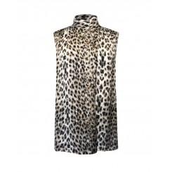 Mela Purdie Cossack Tank - Snow Leopard Chiffon Satin Print