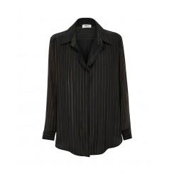 Mela Purdie Ribbon Shirt - Glitter Stripe Print Mousseline