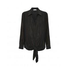 Mela Purdie Tie Overshirt - Glitter Stripe Print Mousseline