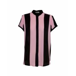 Mela Purdie Stand Collar Top - Cabana Stripe Silk - Sale