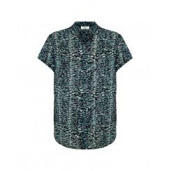 Mela Purdie Stand Collar Top - Topaz Animal Print Silk