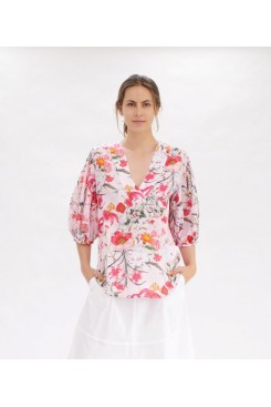 Mela Purdie Belle Blouse - Poppy Pink Floral Print