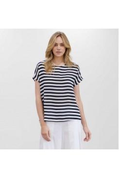 Mela Purdie Cap Shell - Tide Stripe Silk