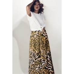 Mela Purdie Cabana Skirt - Sunset Animal Chiffon Satin Print