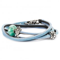 Bracelet Light Blue/ Dark Grey Leather