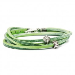 Leather Bracelet, Green/ Silver