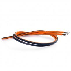 Leather Bracelet Orange/ Navy