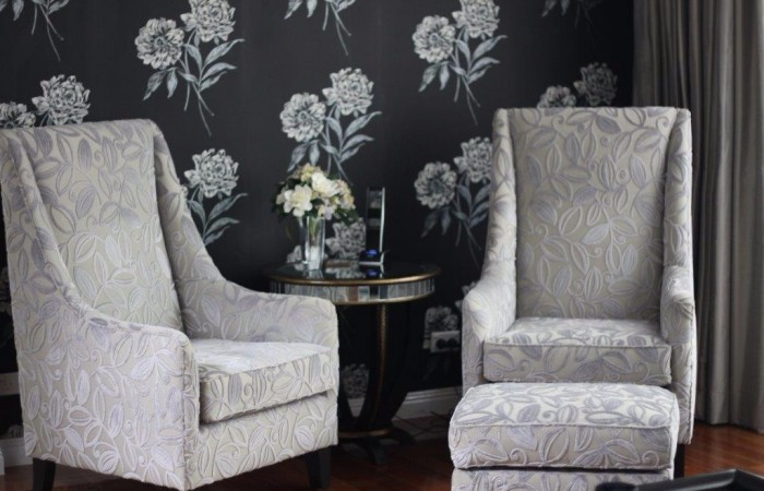 Custom armchairs  and wallpaper